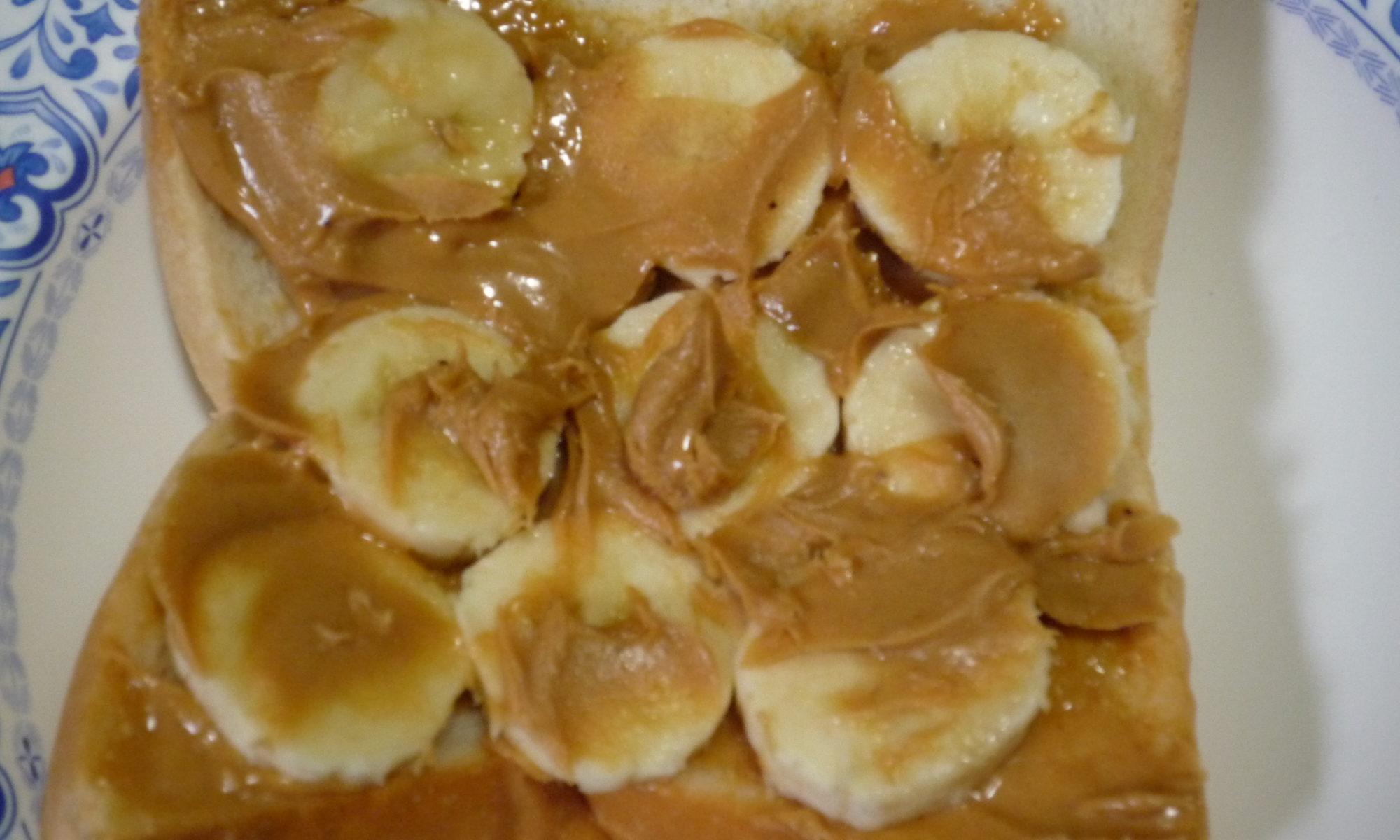 ピーナッツバターとバナナのせトースト5